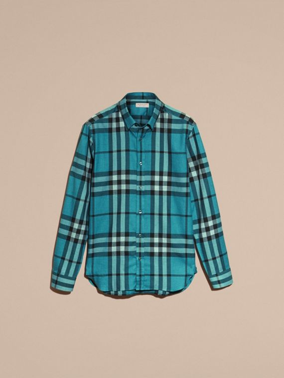 Check Cotton Cashmere Flannel Shirt in Bright Turquoise - cell image 3