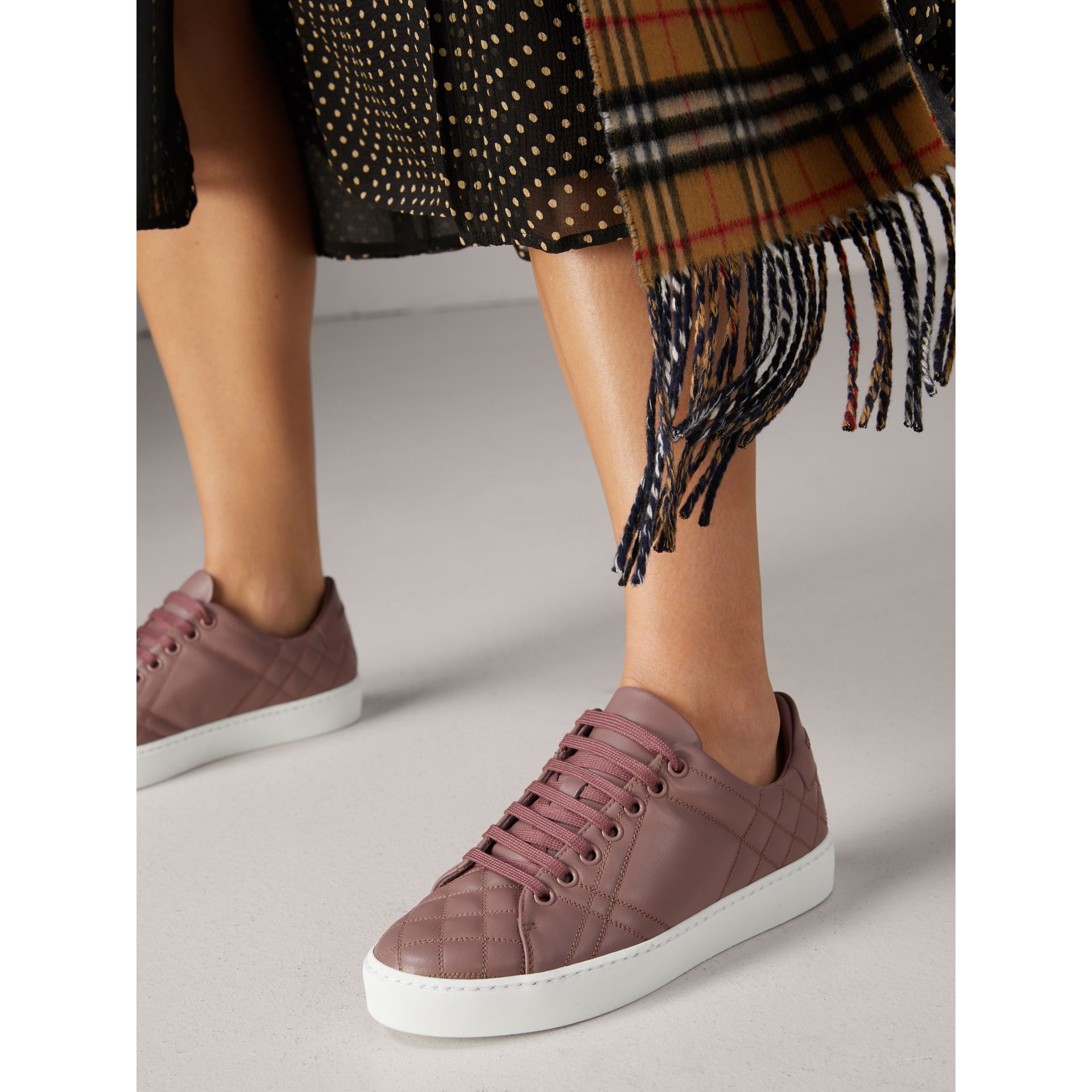 Check-quilted Leather Trainers in Ivory Pink - Women | Burberry - gallery image 2