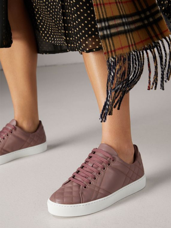 Check-quilted Leather Sneakers in Ivory Pink - Women | Burberry - cell image 2