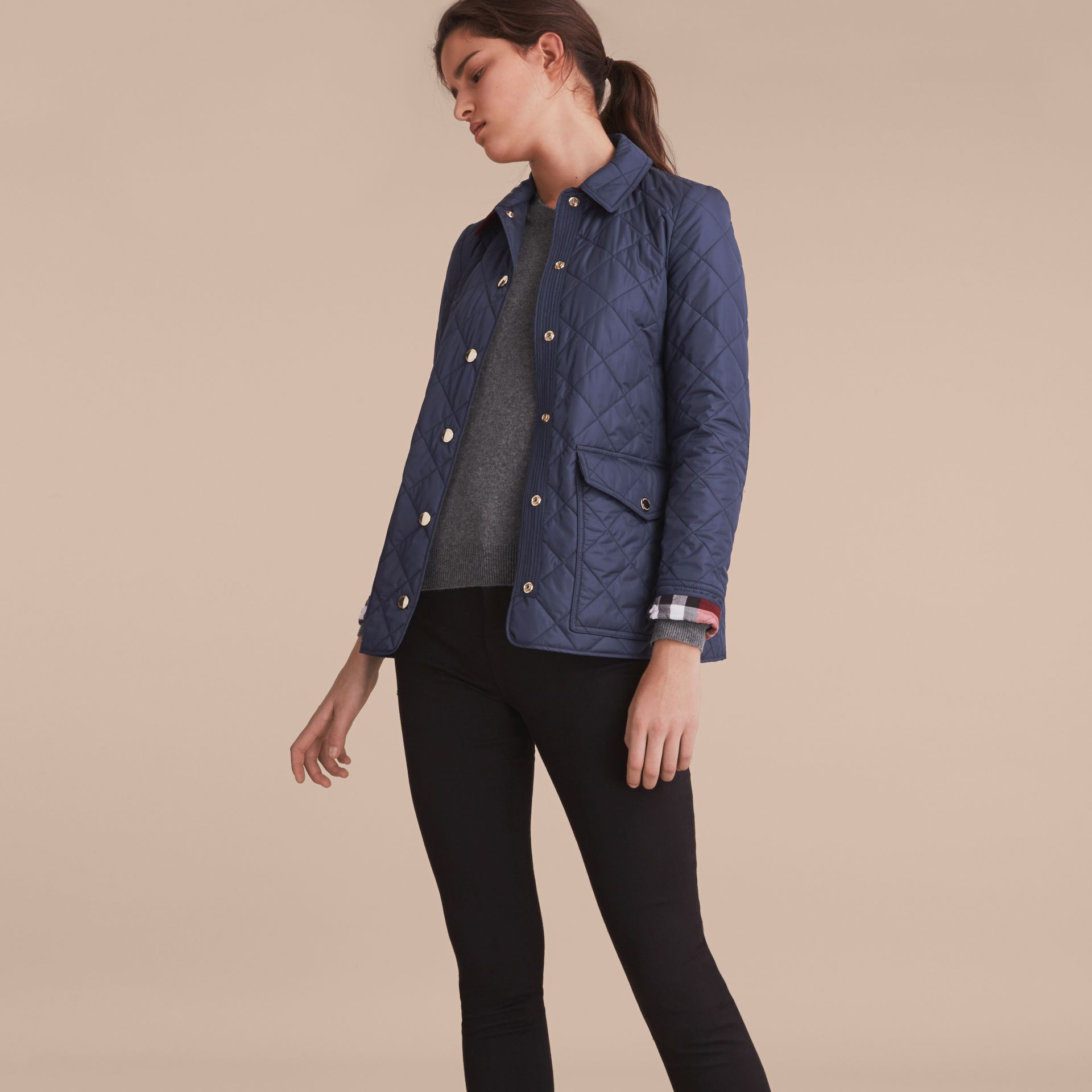 Check Detail Diamond Quilted Jacket in Navy - gallery image 6