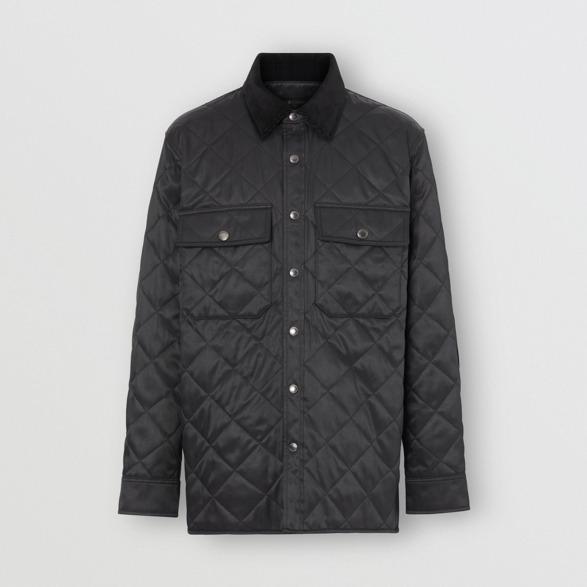 Diamond Quilted Thermoregulated Overshirt in Black - Men | Burberry - gallery image 3