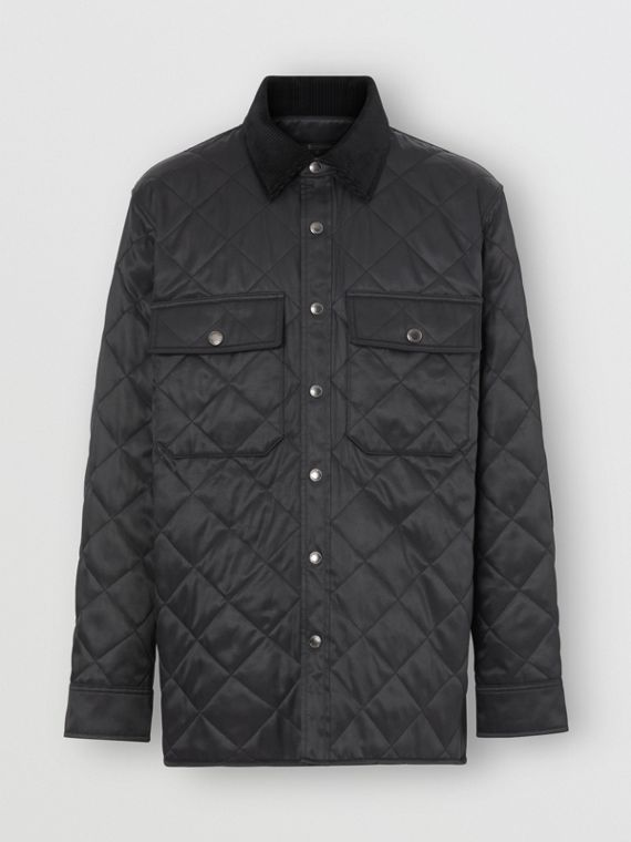 Diamond Quilted Thermoregulated Overshirt in Black