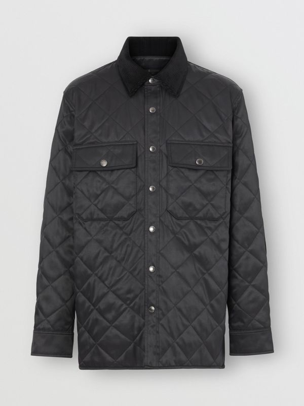 Diamond Quilted Thermoregulated Overshirt in Black - Men | Burberry - cell image 3