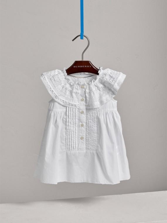 레이스 핀턱 디테일 코튼 에이라인 드레스 (화이트) | Burberry - cell image 2