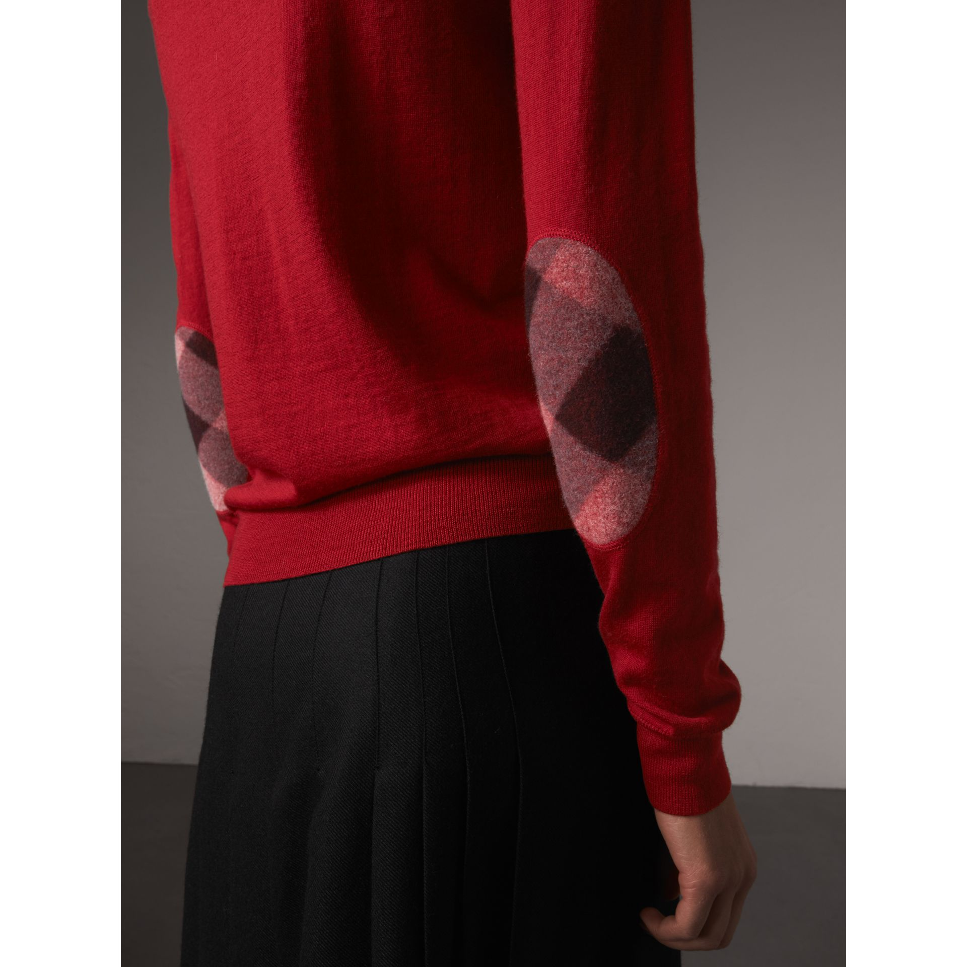 Check Detail Merino Wool Sweater in Parade Red - Women | Burberry - gallery image 1