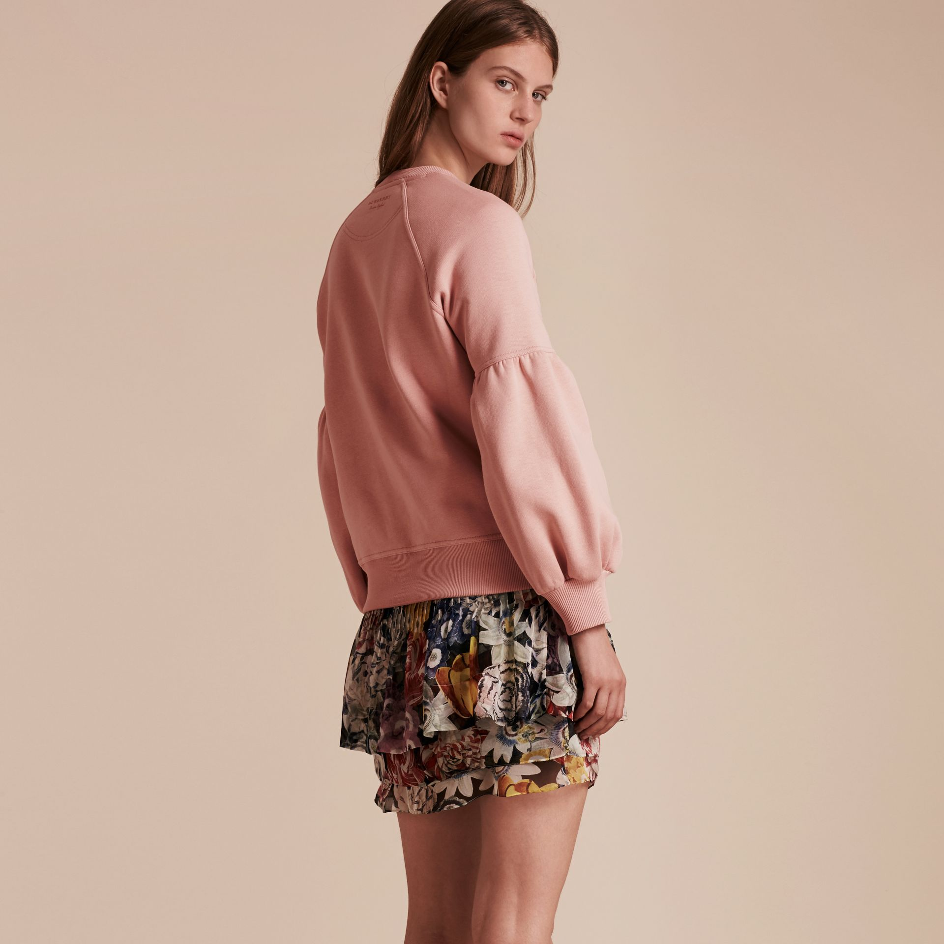 Sweat-shirt en jersey brossé avec manches cloches Rose Cendré - photo de la galerie 3