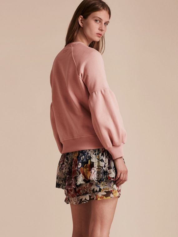 Puff-sleeve Jersey Sweatshirt Ash Rose - cell image 2