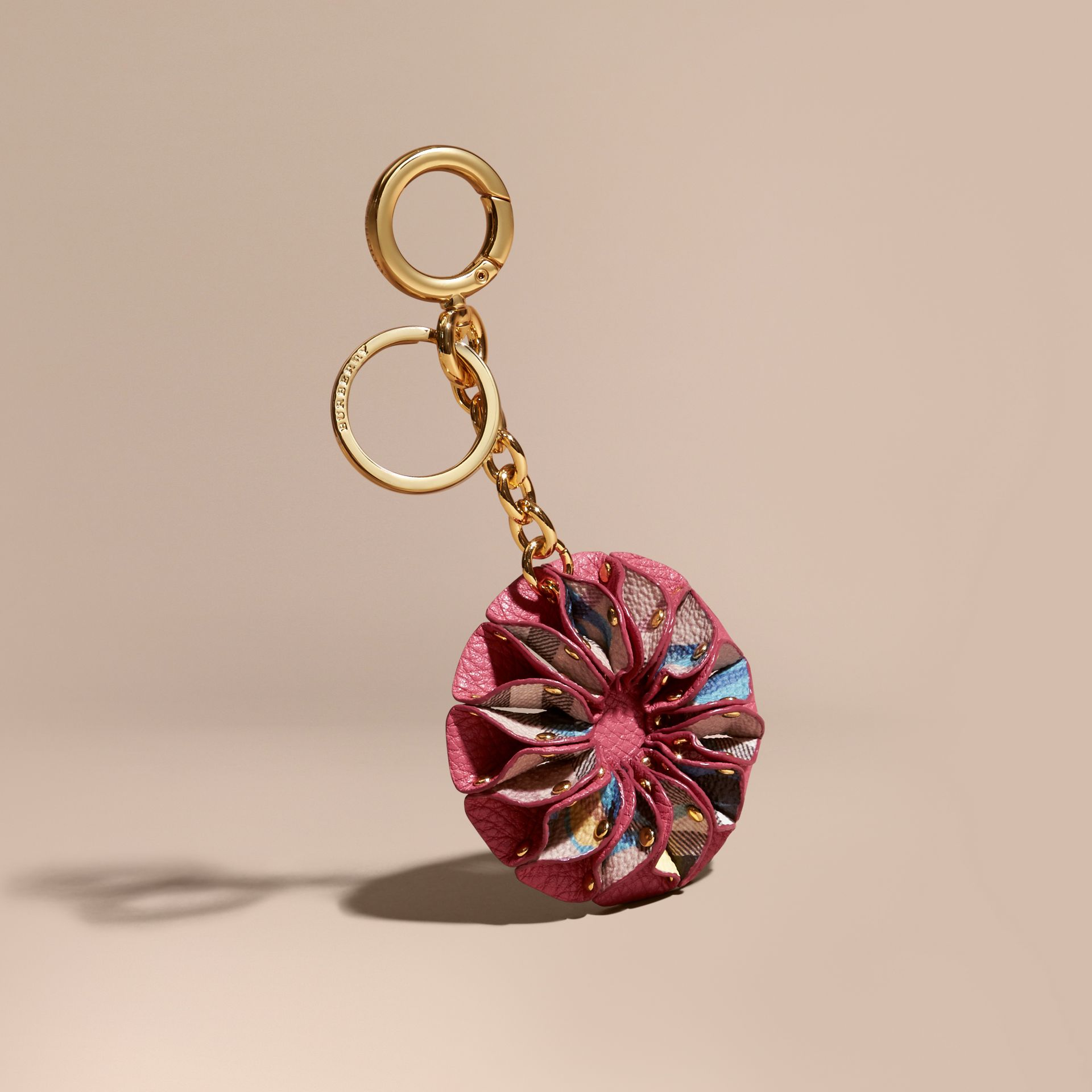 Plum pink Floral Print Haymarket Check Concertina Key Charm Plum Pink - gallery image 1