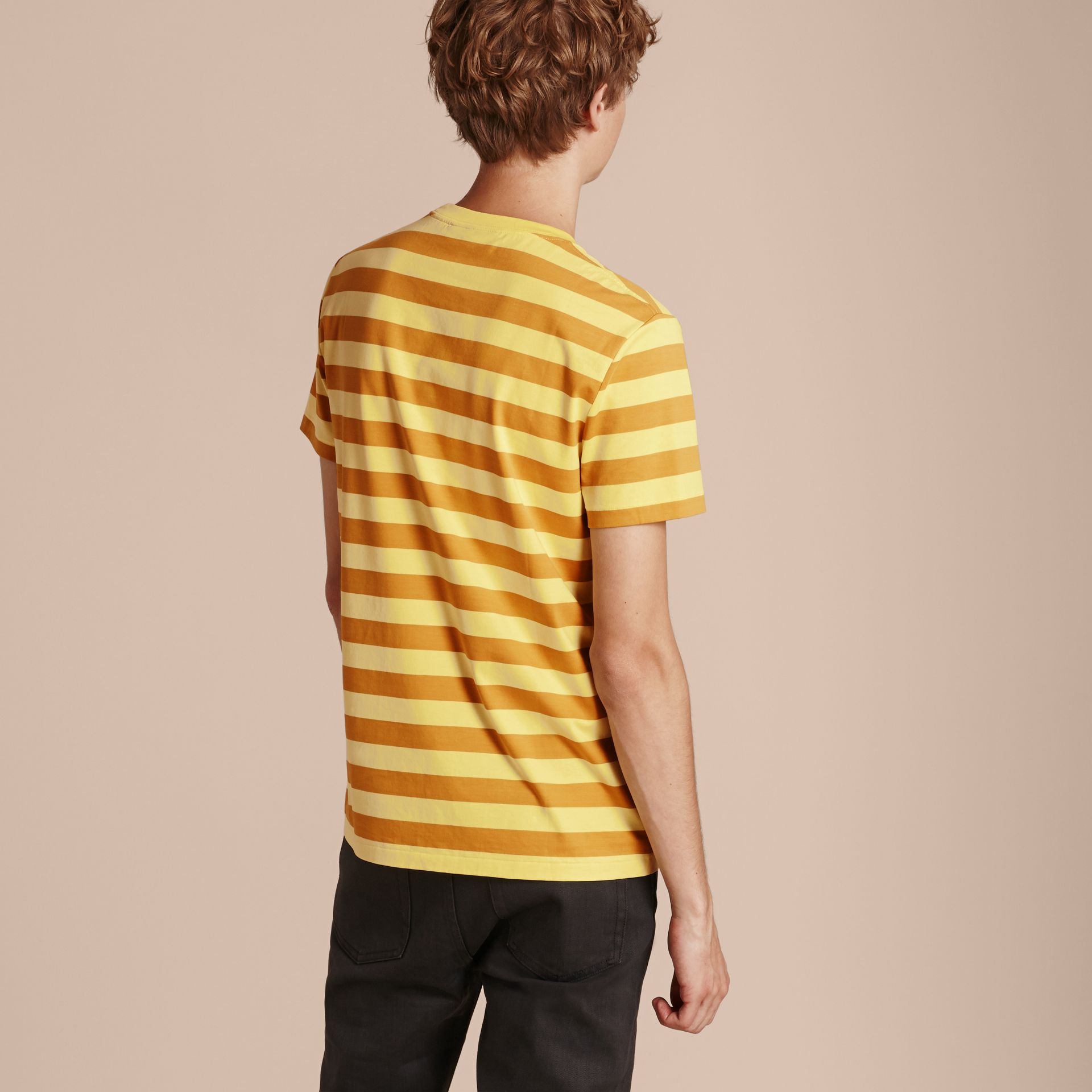 Striped Cotton T-Shirt in Pale Yellow/ochre Yellow - gallery image 3