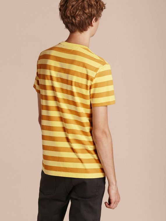 Striped Cotton T-Shirt in Pale Yellow/ochre Yellow - cell image 2