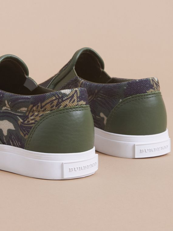 Beasts Print Cotton and Leather Slip-on Trainers in Clay Green | Burberry - cell image 3