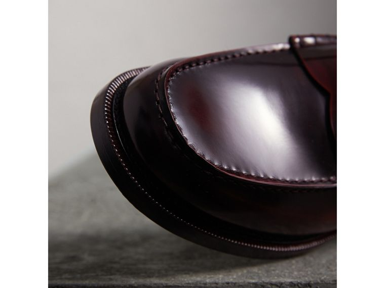 Leather Penny Loafers in Rust Red - Men | Burberry United Kingdom - cell image 1