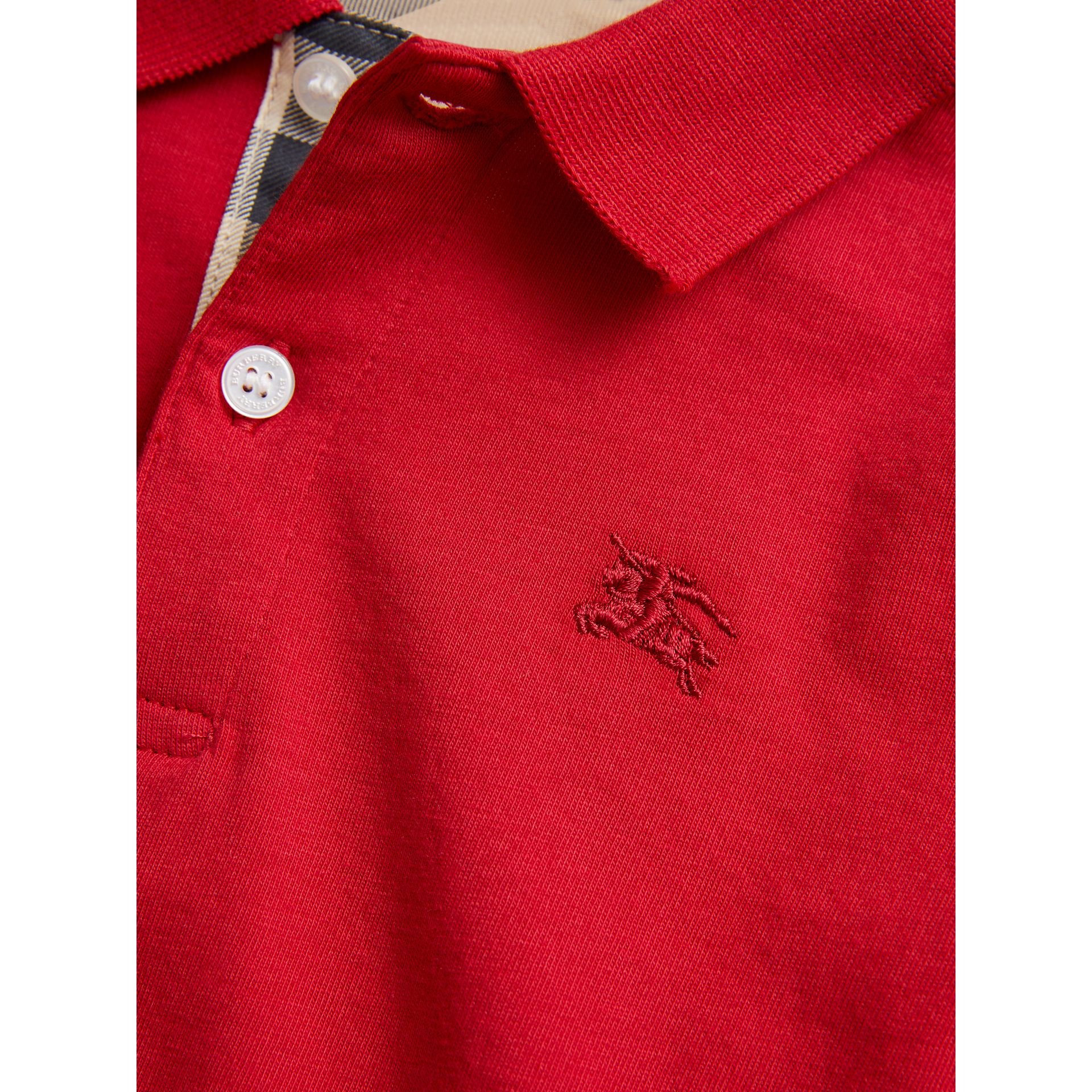 Long-sleeve Cotton Jersey Polo Shirt in Military Red - Boy | Burberry United Kingdom - gallery image 1