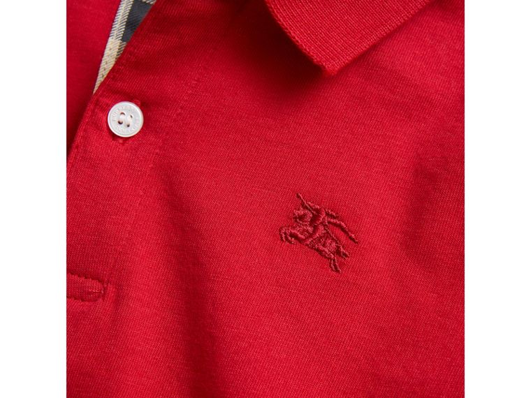 Long-sleeve Cotton Jersey Polo Shirt in Military Red - Boy | Burberry United Kingdom - cell image 1