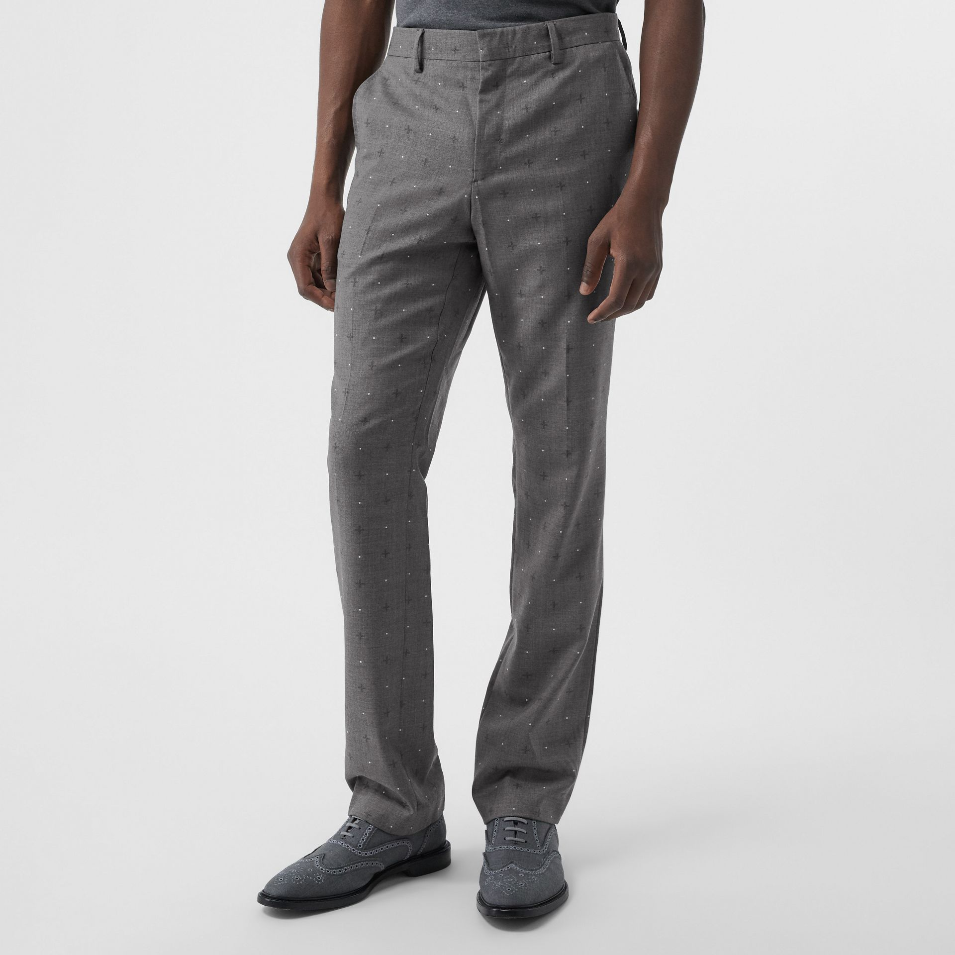 Classic Fit Fil Coupé Wool Cotton Tailored Trousers in Mid Grey Melange - Men | Burberry - gallery image 4