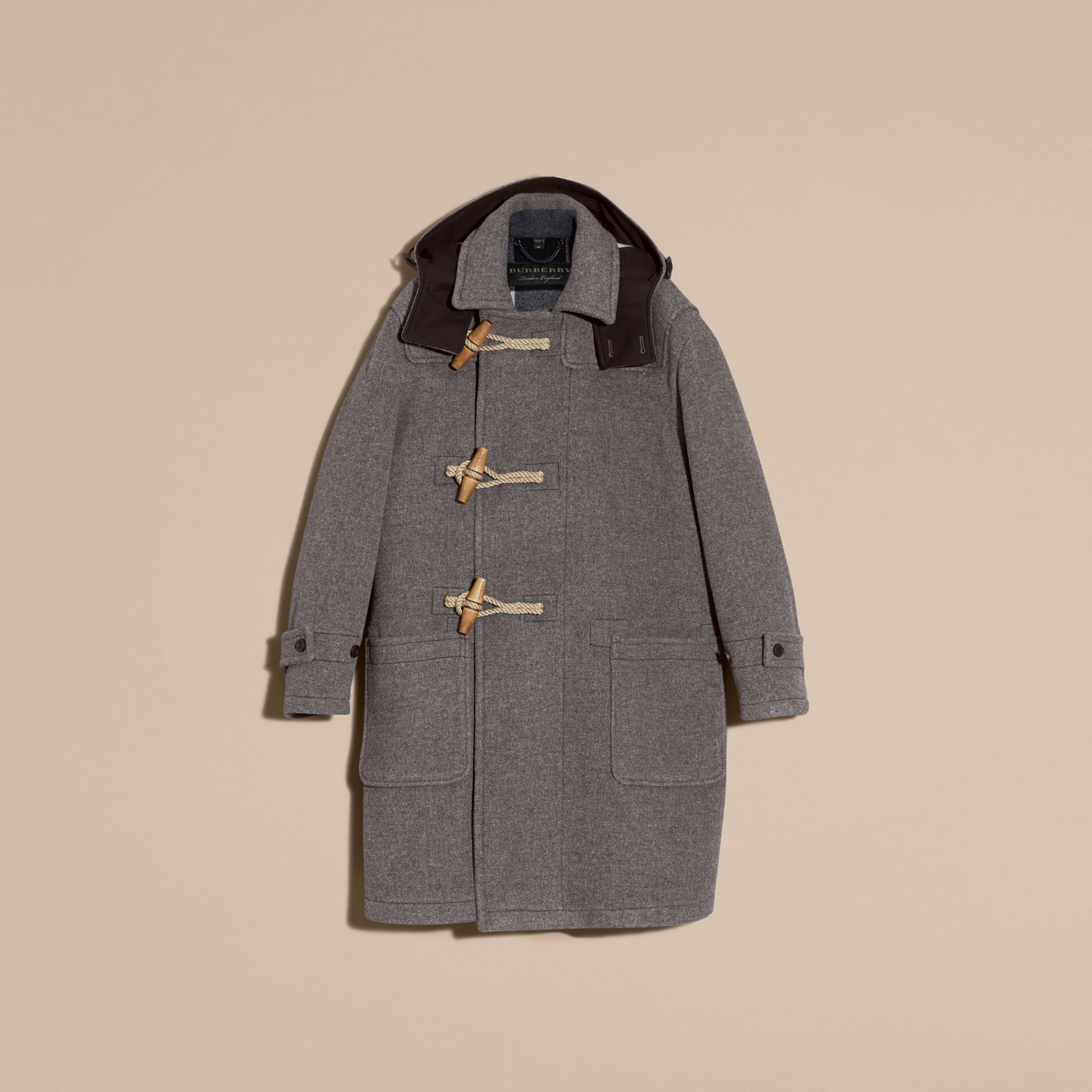 Mid grey Double Splittable Wool Blend Duffle Coat - gallery image 4