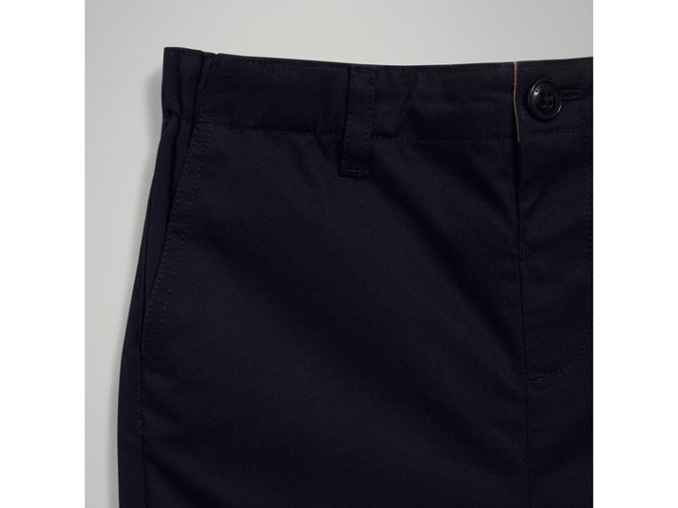 Check Detail Cotton Chino Shorts in Ink - Boy | Burberry - cell image 4