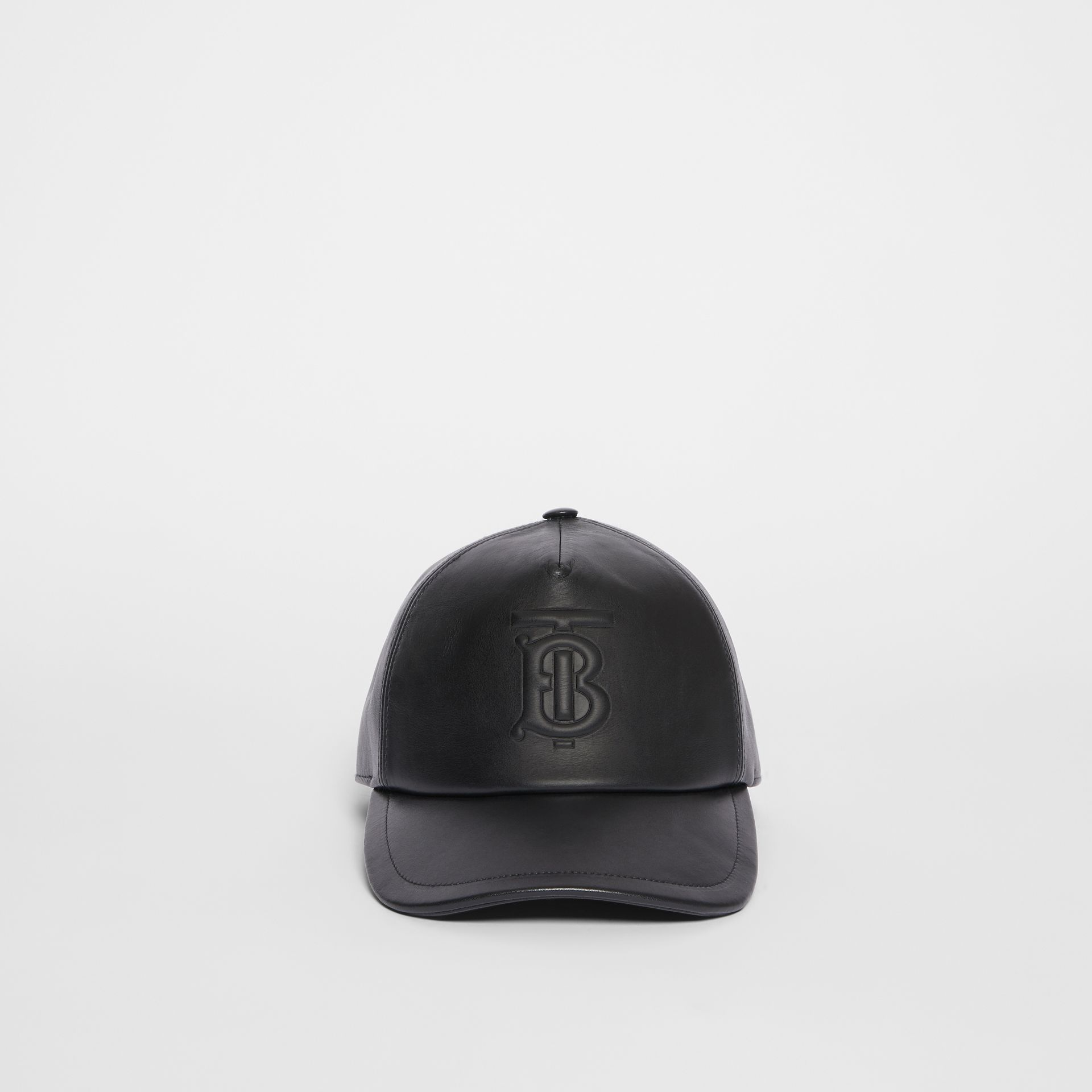 Monogram Motif Leather Baseball Cap in Black | Burberry - gallery image 4