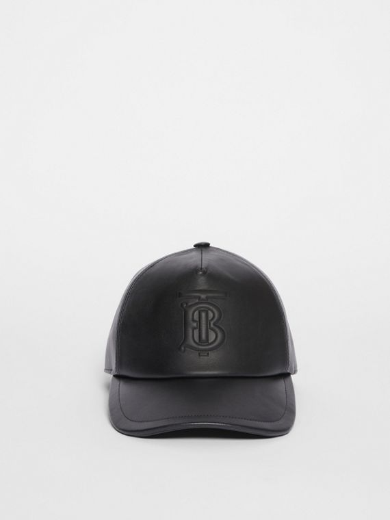 Monogram Motif Leather Baseball Cap in Black