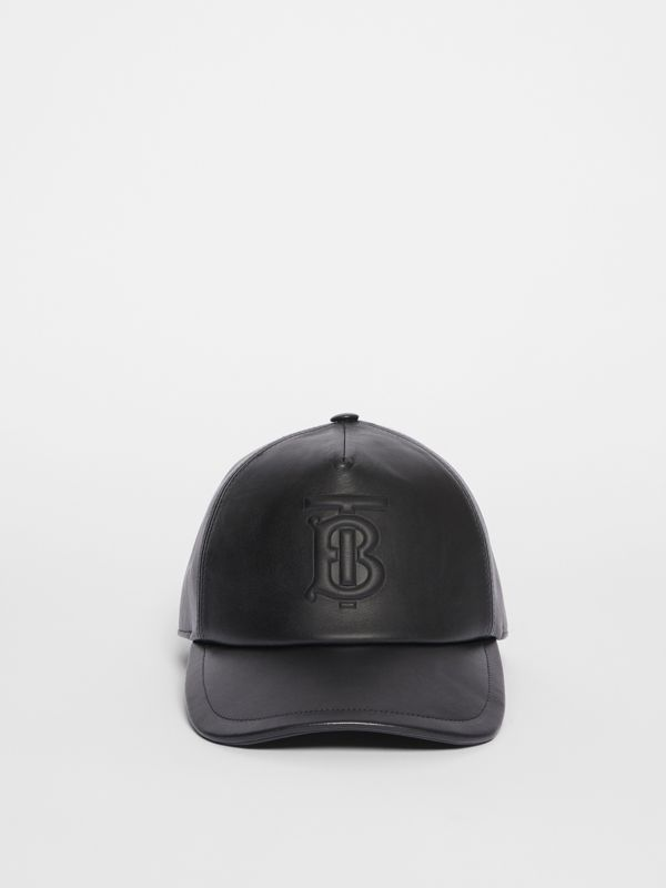Monogram Motif Leather Baseball Cap in Black | Burberry United Kingdom - cell image 2