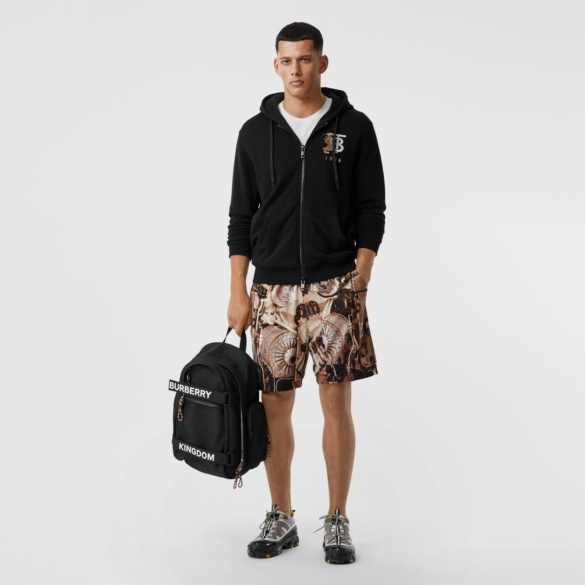 Contrast Logo Graphic Cotton Hooded Top in Black - Men | Burberry - gallery image 4