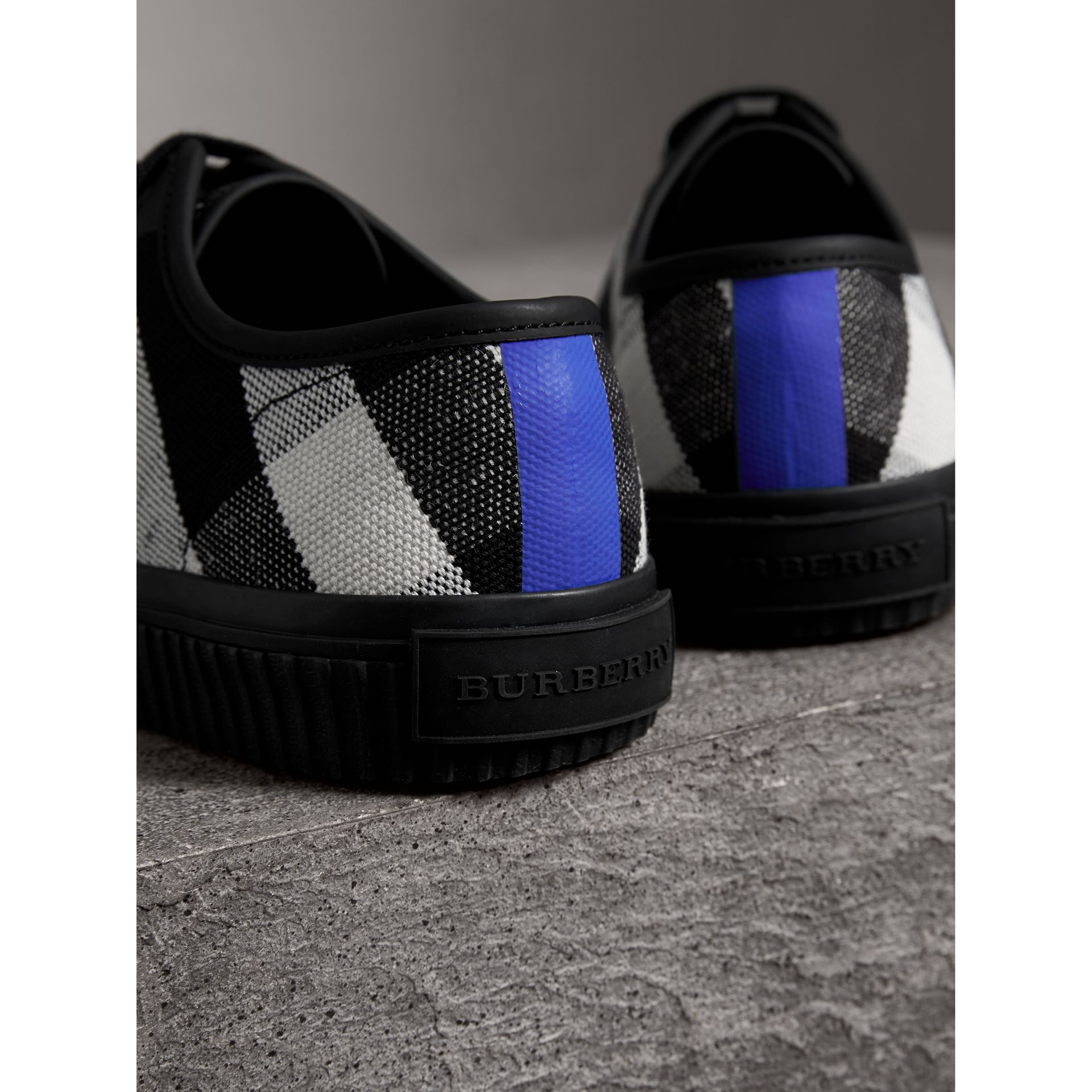 Canvas Check and Leather Sneakers in Black - Men | Burberry - gallery image 1