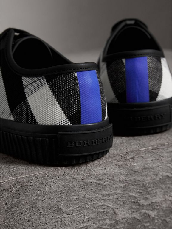 Canvas Check and Leather Sneakers in Black - Men | Burberry United Kingdom - cell image 1