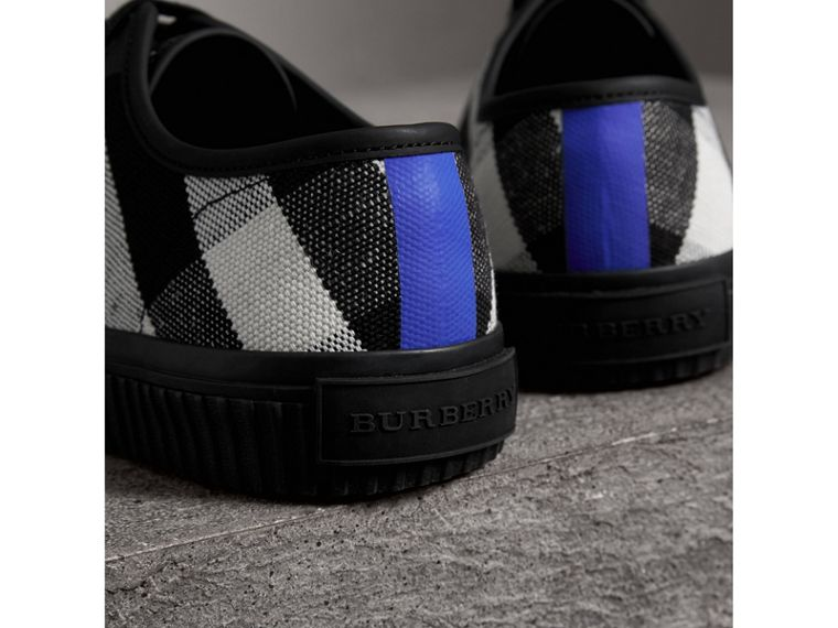 Canvas Check and Leather Sneakers in Black - Men | Burberry - cell image 1