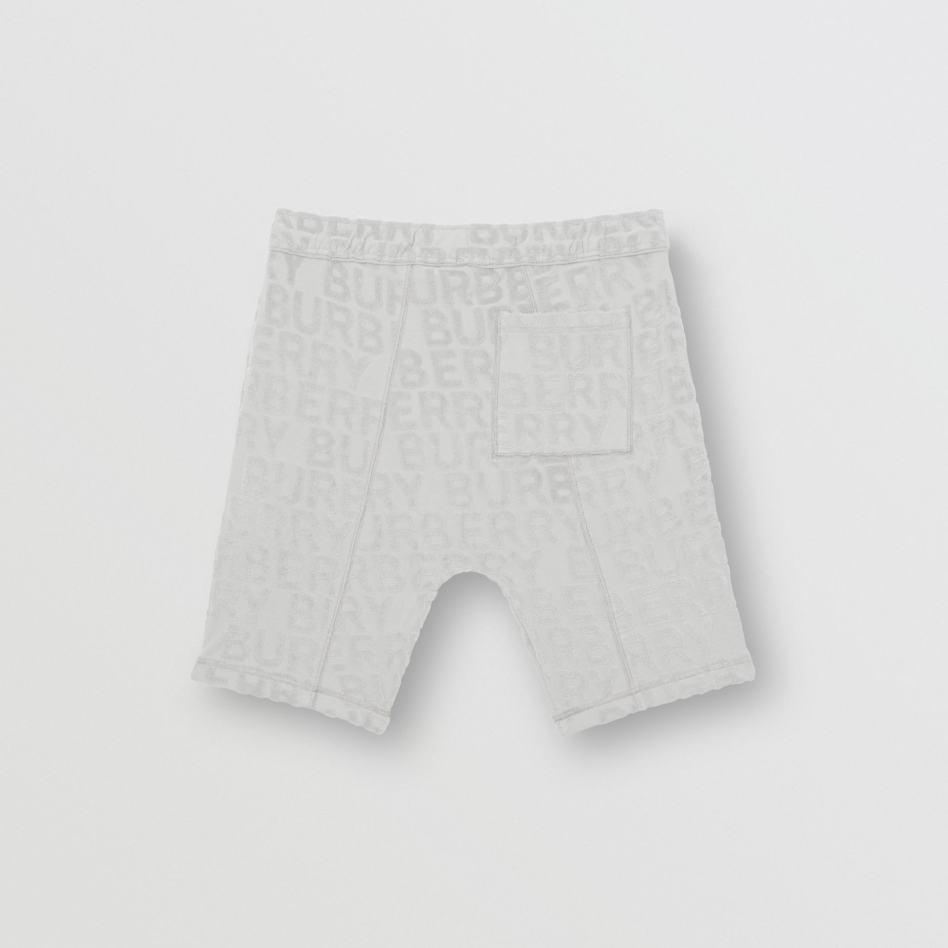 Logo Towelling Drawcord Shorts in Pale Grey | Burberry United Kingdom - gallery image 3