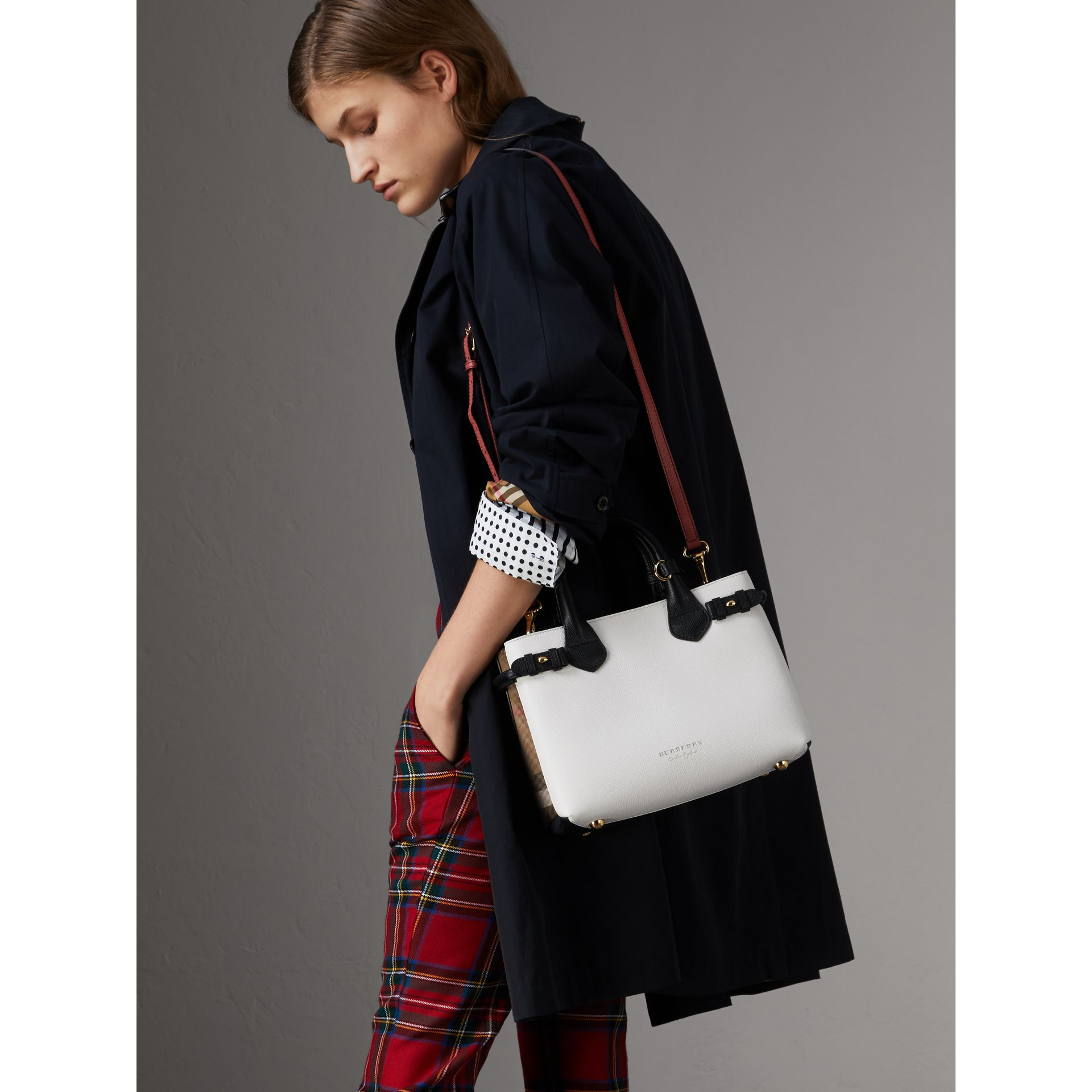 The Small Banner in Leather and House Check in Natural/black - Women | Burberry United Kingdom - gallery image 3