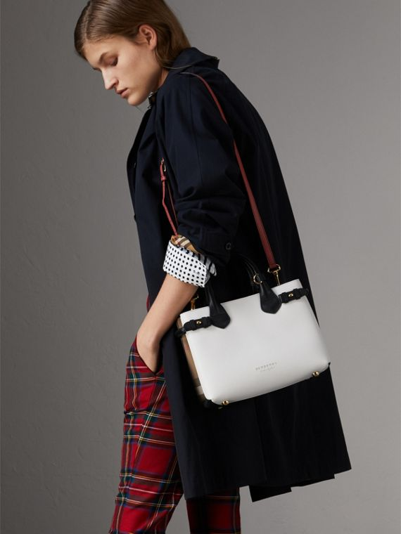 The Small Banner in Leather and House Check in Natural/black - Women | Burberry United Kingdom - cell image 3