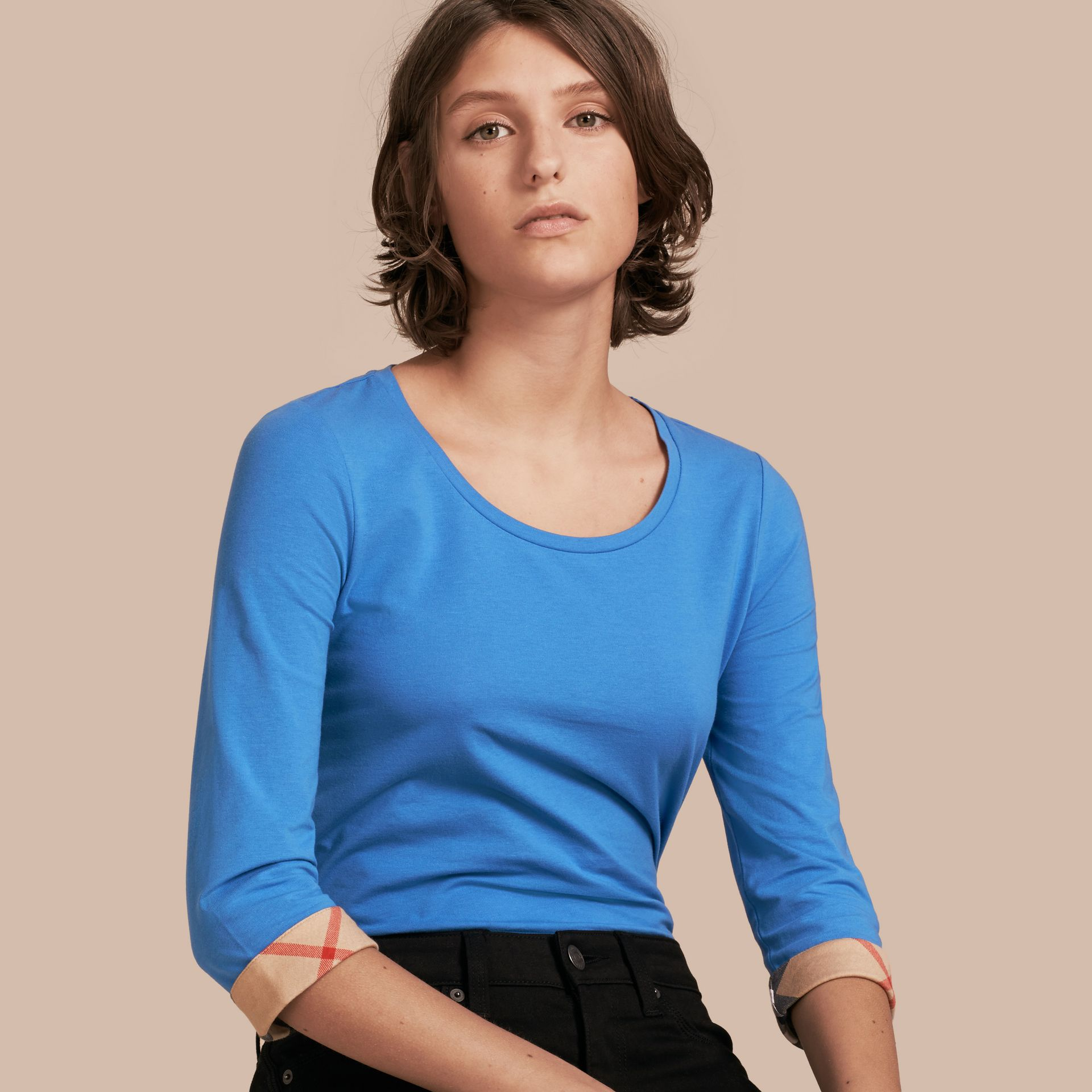 Three-quarter Sleeved Stretch Cotton T-shirt with Check Trim in Bright Hydrangea Blue - gallery image 1