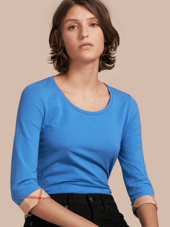 Three-quarter Sleeved Stretch Cotton T-shirt with Check Trim Bright Hydrangea Blue