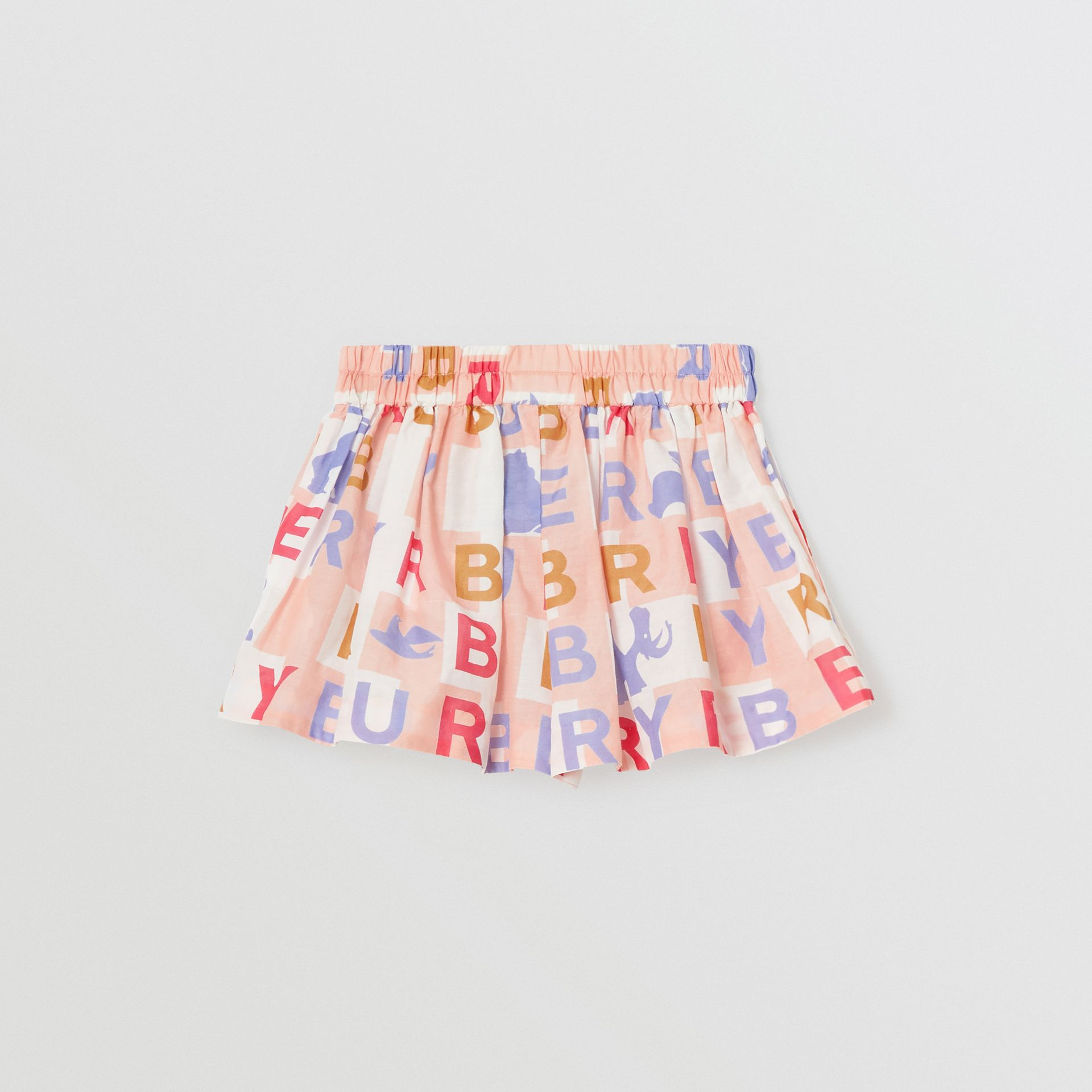Logo Print Cotton Silk Drawcord Shorts in Pale Rose - Children | Burberry - gallery image 3