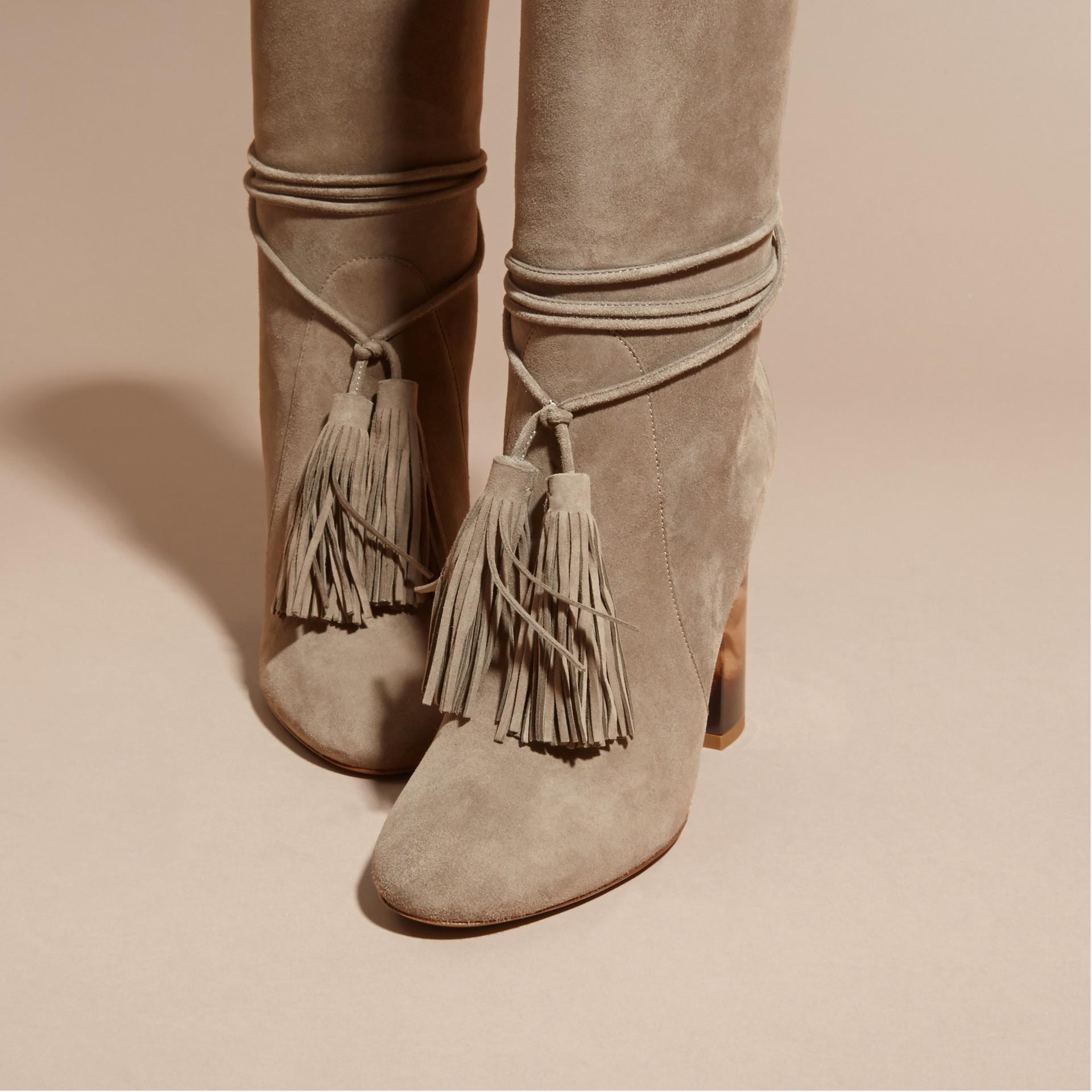 Dark heather melange Tasselled Suede Pull-on Boots - gallery image 2
