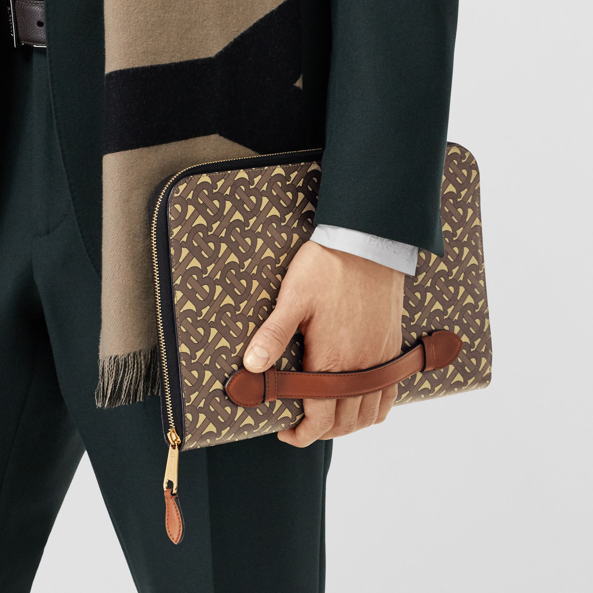 Monogram Print E-canvas and Leather Ziparound Pouch in Bridle Brown | Burberry Hong Kong S.A.R - gallery image 3