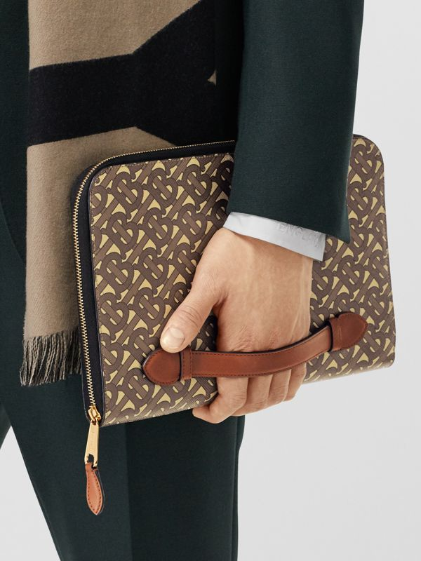 Monogram Print E-canvas and Leather Ziparound Pouch in Bridle Brown | Burberry Hong Kong S.A.R - cell image 3
