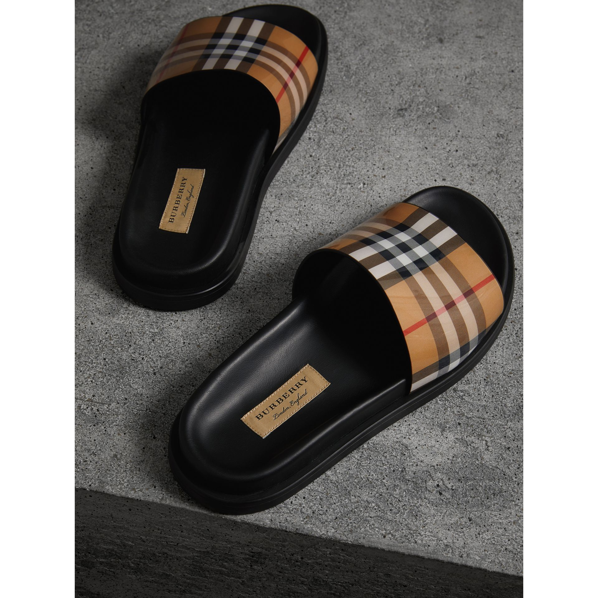 Vintage Check and Leather Slides in Antique Yellow - Women | Burberry - gallery image 2