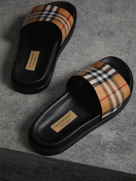 Vintage Check and Leather Slides in Antique Yellow - Women | Burberry United Kingdom - cell image 3