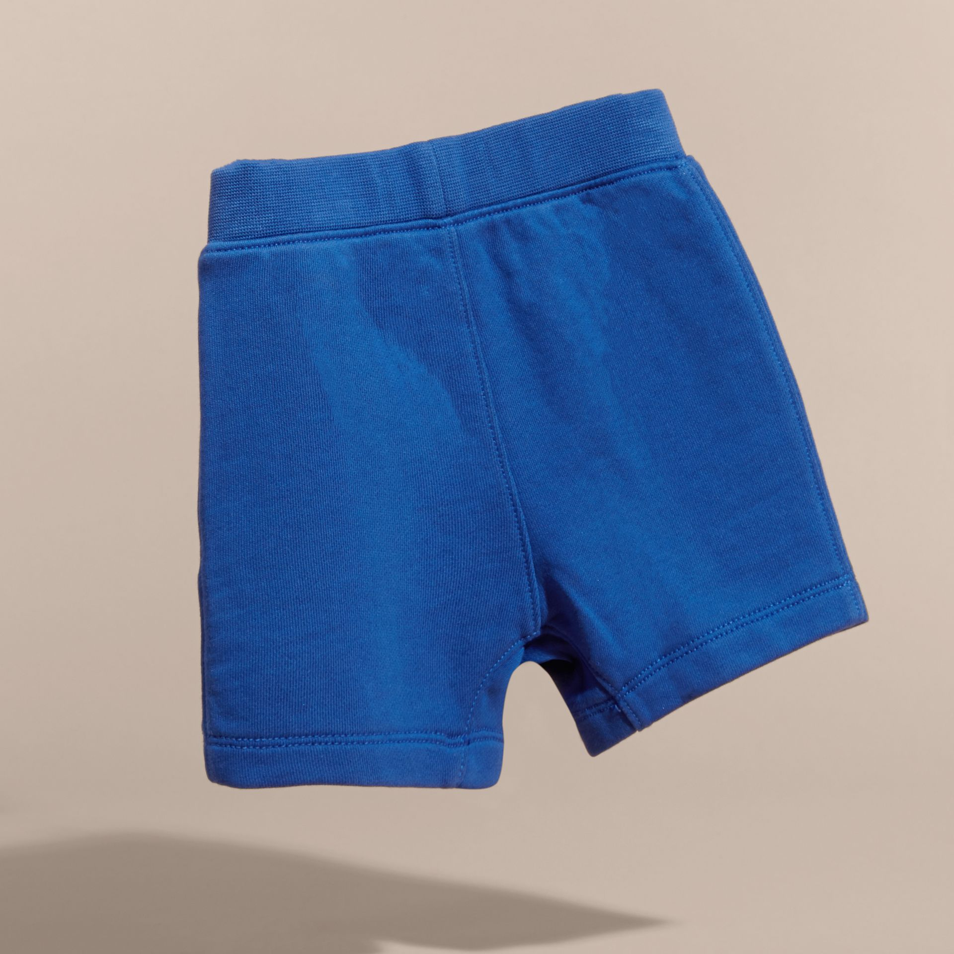 Cotton Jersey Drawcord Shorts in Brilliant Blue | Burberry - gallery image 4