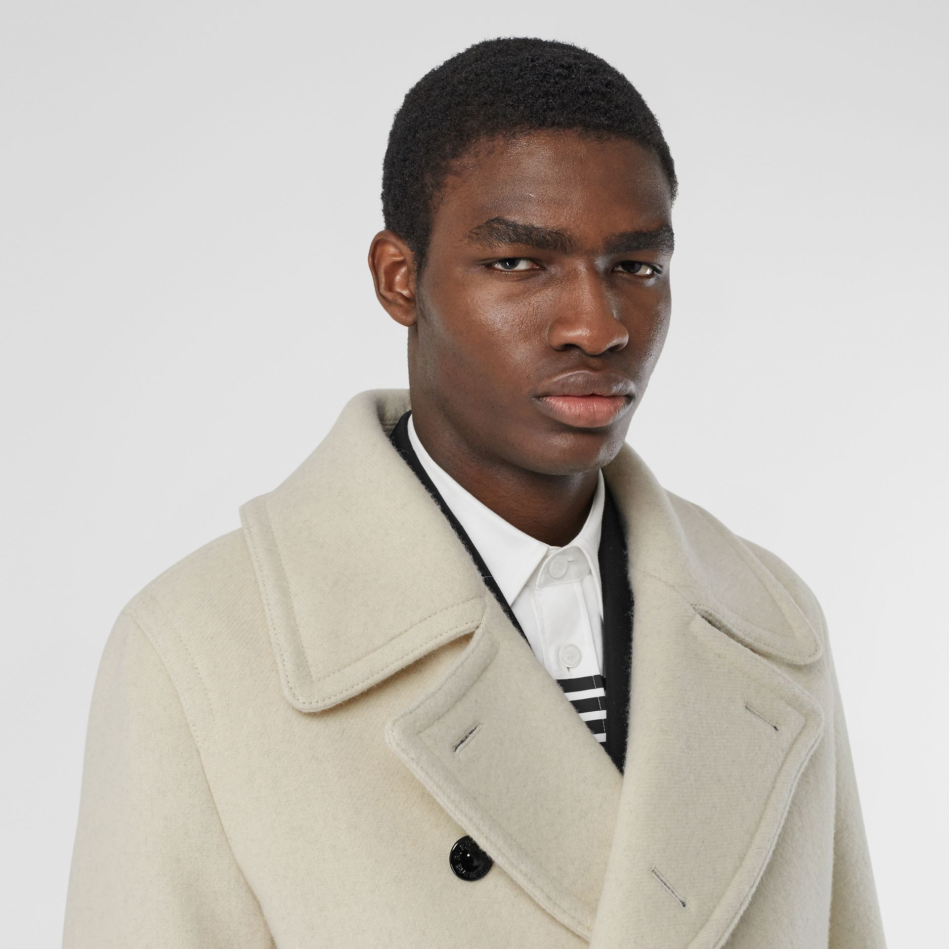 Striped Cuff Wool Pea Coat in White - Men | Burberry - gallery image 1