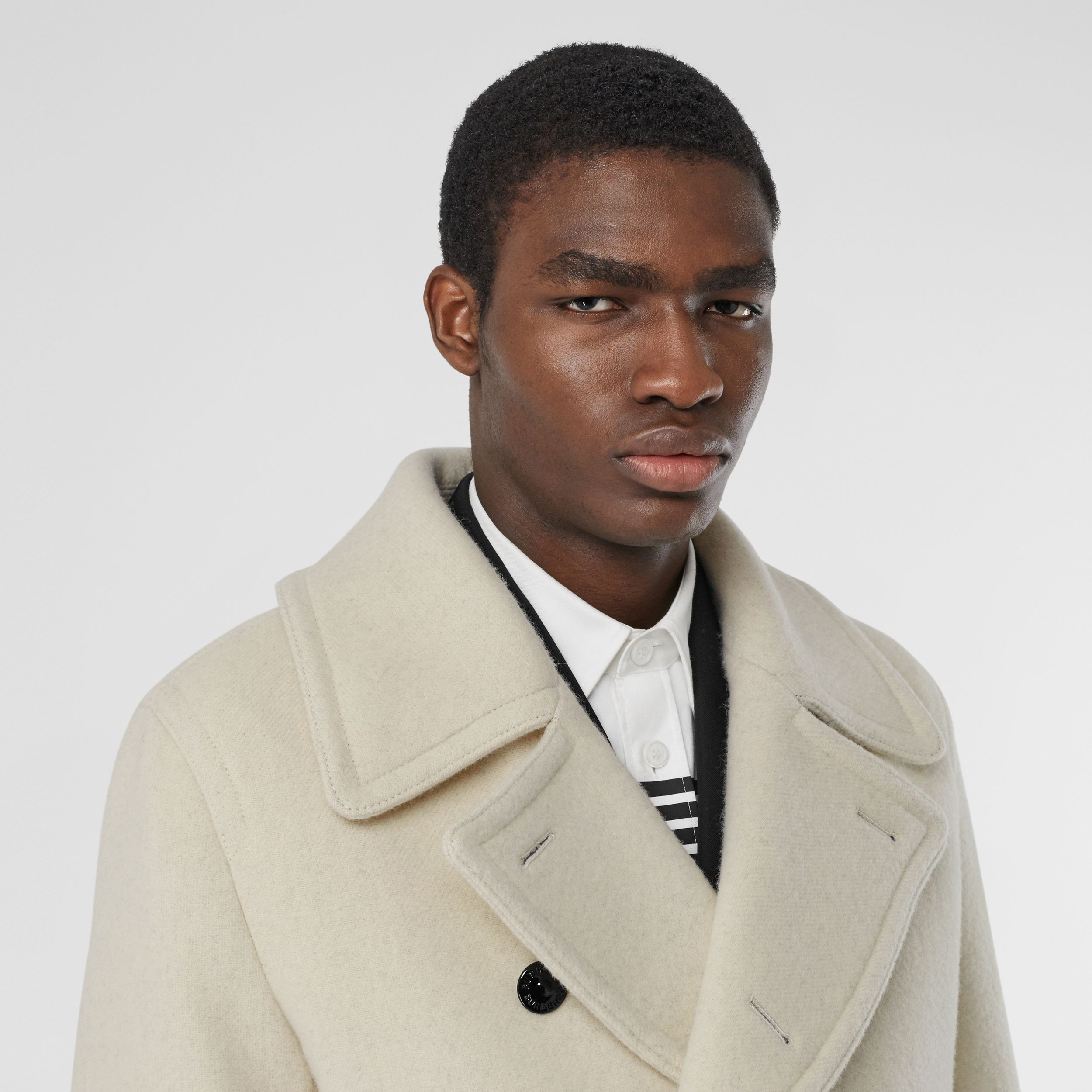 Striped Cuff Wool Pea Coat in White - Men | Burberry - 2