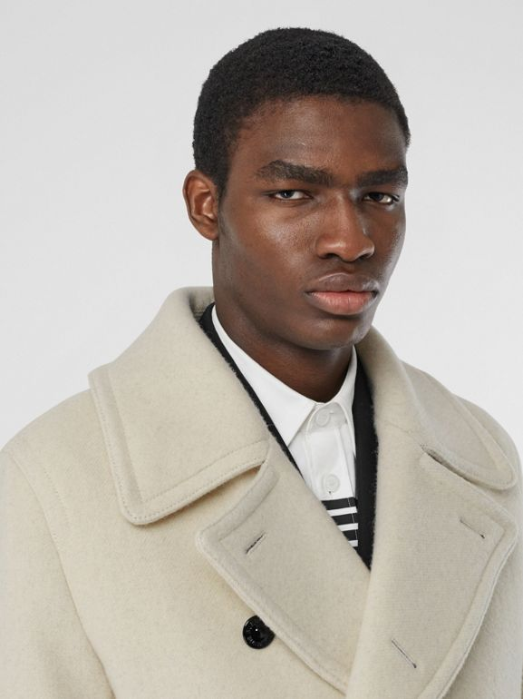 Striped Cuff Wool Pea Coat in White - Men | Burberry - cell image 1