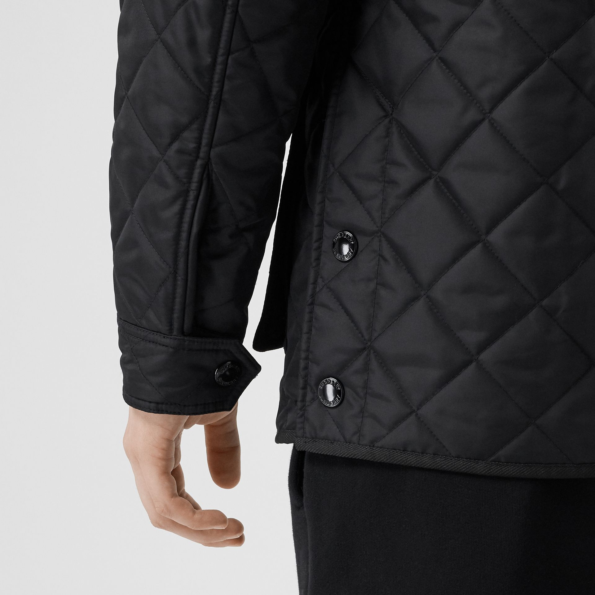 Packaway Hood Quilted Thermoregulated Field Jacket in Black - Men | Burberry - gallery image 4