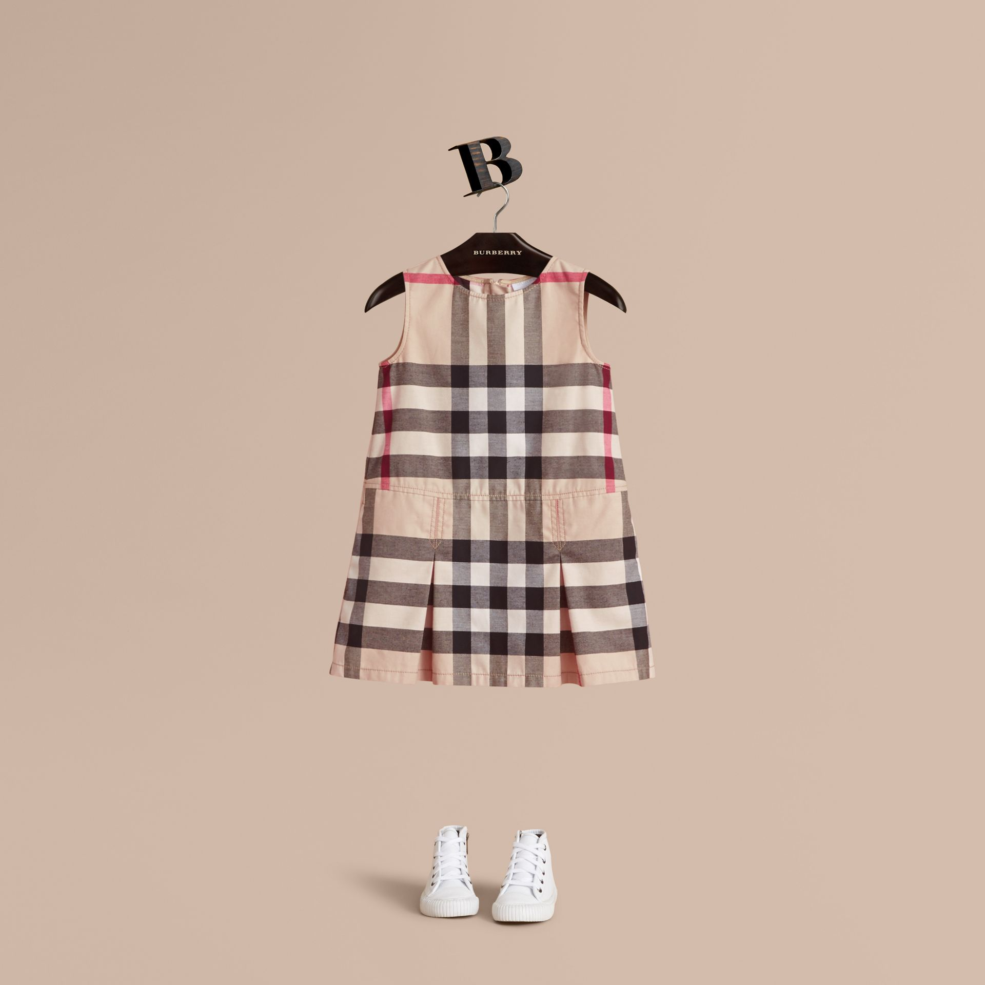 Pleated Check Washed Cotton A-line Dress in Stone - Girl | Burberry Hong Kong - gallery image 1