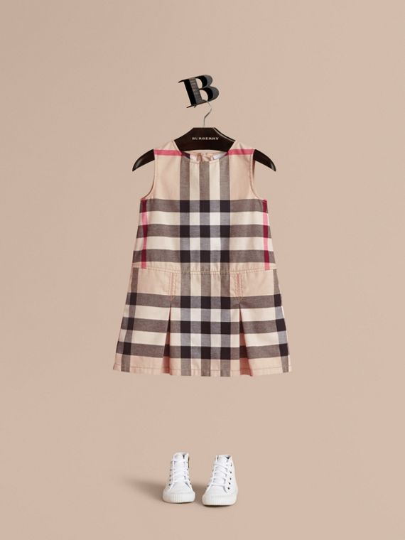 Pleated Check Washed Cotton A-line Dress in Stone