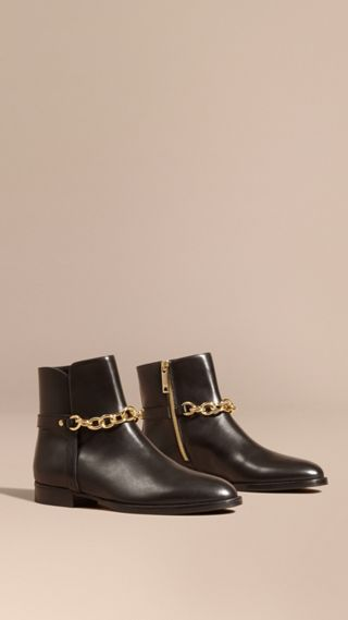 Chain Detail Leather Ankle Boots