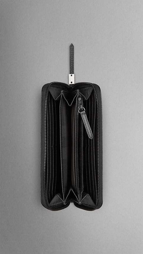 Noir Portefeuille zippé en cuir London - Image 4