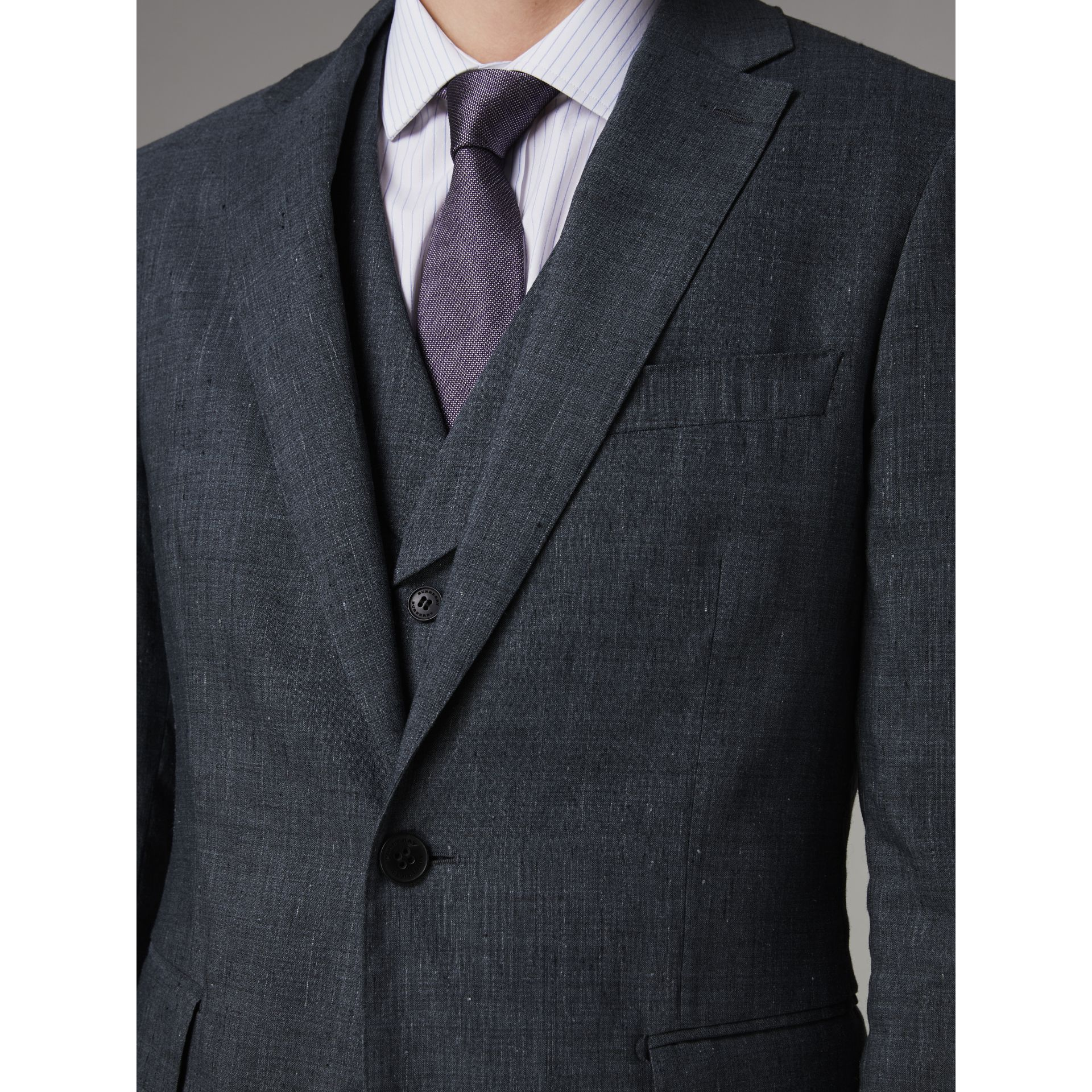 Soho Fit Linen Wool Three-piece Suit in Pale Slate Blue - Men | Burberry United Kingdom - gallery image 1