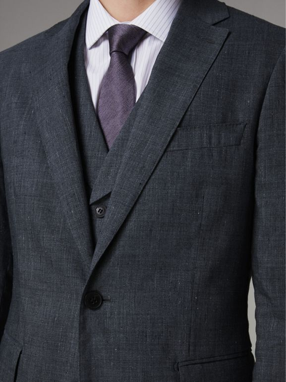 Soho Fit Linen Wool Three-piece Suit in Pale Slate Blue - Men | Burberry - cell image 1